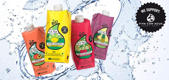 Eistees von TeeGschwendner mit Viva con Agua Siegel